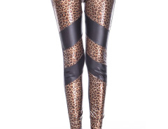 Color Block PU Leopard High Waist Leggings Choies.com bester Fashion-Online-Shop Großbritannien Europa