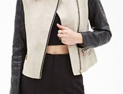 Color Block Stand Up Collar PU Biker Jacket Choies.com bester Fashion-Online-Shop Großbritannien Europa