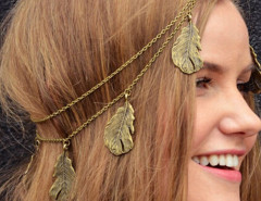 Copper Leaf Drop Hair Crown Choies.com bester Fashion-Online-Shop Großbritannien Europa