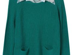 Dark Cyan Pocket Front Ribbed Knit Jumper And White Shirt Vest Lining Choies.com bester Fashion-Online-Shop Großbritannien Europa