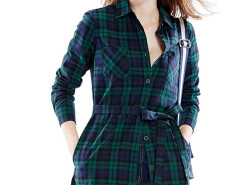 Dark Green Massive Plaid Print Belt Waist Longline Shirt Choies.com bester Fashion-Online-Shop Großbritannien Europa
