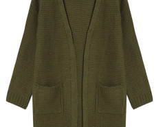 Dark Green Pocket Detail Long Sleeve Longline Knit Cardigan Choies.com bester Fashion-Online-Shop Großbritannien Europa