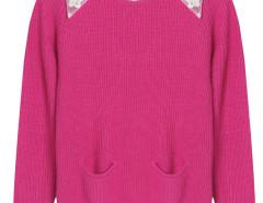 Deep Pink Pocket Front Ribbed Knit Jumper And White Shirt Vest Lining Choies.com bester Fashion-Online-Shop Großbritannien Europa