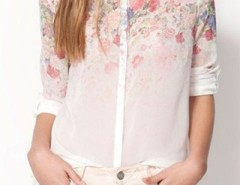 Dream Flower Print High-Low Shirt OASAP bester Fashion-Online-Shop aus China