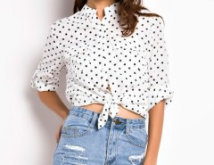 Fashion Polka-Dot Print Long Sleeve Shirt OASAP bester Fashion-Online-Shop aus China