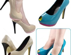 Fashion Slim Women's Fish-Head High Heels Peep Toe Pumps Shoes PU Leather Cndirect bester Fashion-Online-Shop China