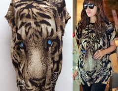 Fashion Women Casual Round Neck Tiger Pattern Batwing Sleeve T-Shirt Blouse Tops Cndirect bester Fashion-Online-Shop China