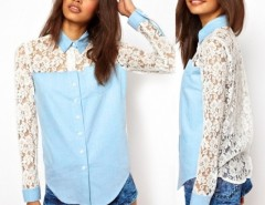 Fashion Women Shirt Lapel Long Sleeve Denim Splice Lace Blouse T-Shirt Tops Cndirect bester Fashion-Online-Shop China