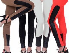 Fashion Women's Lady European Super Sexy Skinny Slim Pants Side Leather Leggings Cndirect bester Fashion-Online-Shop China