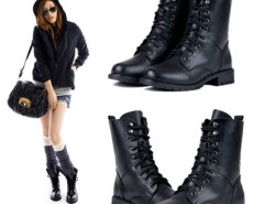 Fashion Women's Cool Black PUNK Military Army Knight Lace-up Short Boots Shoes Cndirect bester Fashion-Online-Shop China
