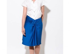 Flared Royal Blue Satin Cotton Skirt with Draped Detail Carnet de Mode bester Fashion-Online-Shop