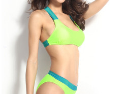 Fluorescence Green Contrast Cut Out Back Bikini Top And Bottom Choies.com bester Fashion-Online-Shop Großbritannien Europa