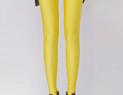 Fluorescent Yellow High Waist Stretchy Leggings Choies.com bester Fashion-Online-Shop Großbritannien Europa