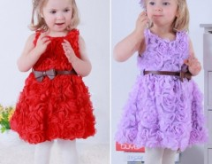 Girls Kid Summer Three-dimensional Flower Princess Big Bow Belt Dress Cndirect bester Fashion-Online-Shop China