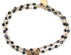 Gold Bracelet with Butterfly and Black Pearls Laura Carnet de Mode bester Fashion-Online-Shop
