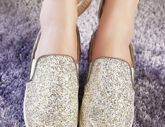 Gold Sequined Rivet Rabbit Ear Decorated Loafers Choies.com bester Fashion-Online-Shop Großbritannien Europa
