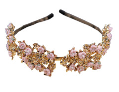 Golden And Pink Floral Rhinestone Detail Hairband Choies.com bester Fashion-Online-Shop Großbritannien Europa