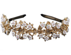 Golden And White Floral Rhinestone Detail Hairband Choies.com bester Fashion-Online-Shop Großbritannien Europa