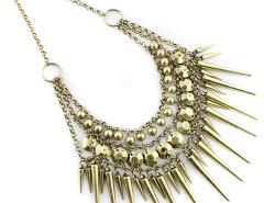 Golden Bohemia Stud And Bead Chain Statement Necklace Choies.com bester Fashion-Online-Shop Großbritannien Europa