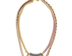 Golden Brass and Colored Nylon Boréal Necklace Carnet de Mode bester Fashion-Online-Shop