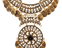 Golden Faceted Stone Statement Coin Necklace Choies.com bester Fashion-Online-Shop Großbritannien Europa