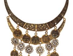 Golden Flower And Coin Drop Ornate Statement Necklace Choies.com bester Fashion-Online-Shop Großbritannien Europa