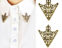 Golden Retro Pattern Cut Out Triangle Brooch Pack Choies.com bester Fashion-Online-Shop Großbritannien Europa