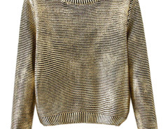 Golden Round Neck Long Sleeve Sweater Choies.com bester Fashion-Online-Shop Großbritannien Europa