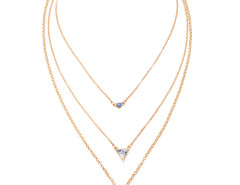 Golden Stone Drop Chain Multirow Necklace Choies.com bester Fashion-Online-Shop Großbritannien Europa