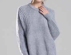 Gray Batwing Long Sleeve Loose Cable Sweater Choies.com bester Fashion-Online-Shop Großbritannien Europa