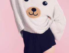 Gray Bear Pattern Long Sleeve Loose Jumper Choies.com bester Fashion-Online-Shop Großbritannien Europa