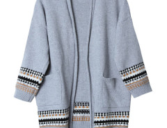 Gray Geo Pattern Trim Longline Cardigan Choies.com bester Fashion-Online-Shop Großbritannien Europa
