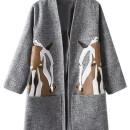 Gray Horse Print Side Split Open Front Coat Choies.com bester Fashion-Online-Shop Großbritannien Europa