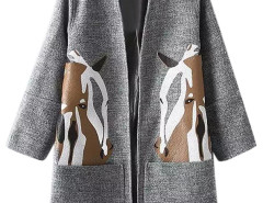 Gray Horse Print Side Split Open Front Coat Choies.com bester Fashion-Online-Shop Großbritannien Europa