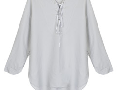 Gray Lace Up Front 3/4 Sleeve Dipped Back Blouse Choies.com bester Fashion-Online-Shop Großbritannien Europa