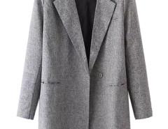 Gray Lapel Button And Pocket Detail Trench Coat Choies.com bester Fashion-Online-Shop Großbritannien Europa