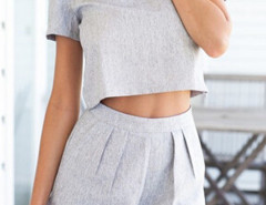 Gray Short Sleeve Crop Top And High Waist Shorts Choies.com bester Fashion-Online-Shop Großbritannien Europa