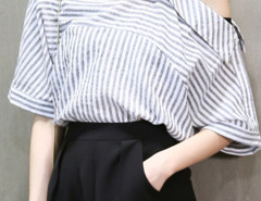 Gray Stripe Cold Shoulder Button Detail Blouse Choies.com bester Fashion-Online-Shop Großbritannien Europa