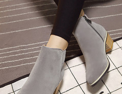 Gray Suedette Pointed Zipper Side Ankle Boots Choies.com bester Fashion-Online-Shop Großbritannien Europa