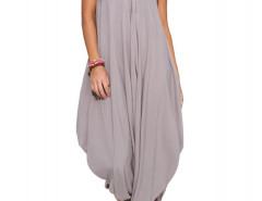 Gray V Neck Ruffle Asymmetric Loose Cami Jumpsuit Choies.com bester Fashion-Online-Shop Großbritannien Europa