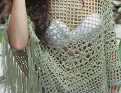 Green Crochet Tassel Detail Poncho Beach Cover Up Choies.com bester Fashion-Online-Shop Großbritannien Europa