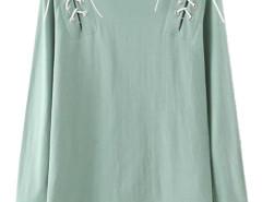 Green Lace Up Detail Long Sleeve T-shirt Choies.com bester Fashion-Online-Shop Großbritannien Europa