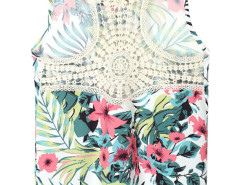 Green Tropical Print Crochet Back Vest Choies.com bester Fashion-Online-Shop Großbritannien Europa