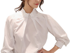 Jollychic Beading Pleated Long Sleeve Loose White Blouse For Women Jollychic.com bester Fashion-Online-Shop