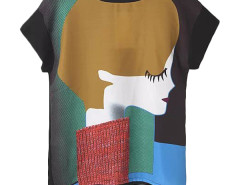 Jollychic Character Printing O-Neck Patchwork Women Loose T-Shirt Jollychic.com bester Fashion-Online-Shop