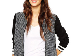 Jollychic Color Block Long Sleeve Stand Collar Knitting Women Jacket Jollychic.com bester Fashion-Online-Shop