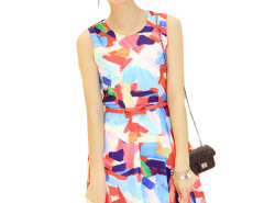 Jollychic Colorful Printing Sleeveless O Neckline Women Dress With belt Jollychic.com bester Fashion-Online-Shop