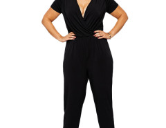 Jollychic Deep V-Neck Plus Size 2XL-6XL Black Jumpsuits Jollychic.com bester Fashion-Online-Shop