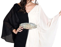 Jollychic Fashion Patchwork Bat Sleeve Backless Chiffon Dress No Belt Jollychic.com bester Fashion-Online-Shop