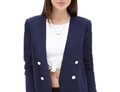 Jollychic Open Placket Double Breasted Long Sleeve Navy Blazer Jollychic.com bester Fashion-Online-Shop